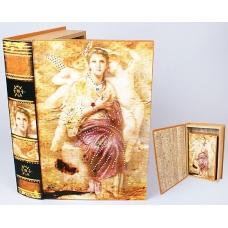 Шкатулка книга со стразами дама с ангелами