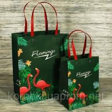 Пакет с фламинго зеленый