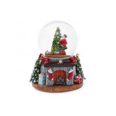 Водяной шар Санта с поездом, снегом и подсветкой
