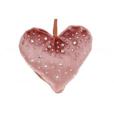 Подвес сердце бархатное розовое