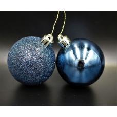 Елочный шар синий 2-х видов (глитер,глянец)