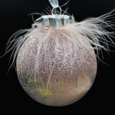 Елочный шар с пухом (розовая пудра)
