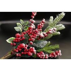 Ветка заснеженная с ягодами и листьями