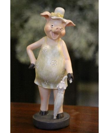 Статуэтка свинка с зонтиком